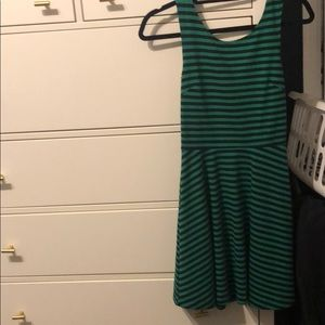 Navy & green stripped dress